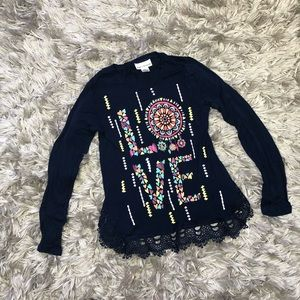 Other - Sugar & Diamonds Navy Love Top Girl's Size Large